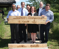 Left to right: MP for Nepean Chandra Arya, RVCA Chair Lyle Pederson, Ottawa Mayor Jim Watson, Ottawa Councillor Michael Qaqish, MPP for Nepean-Carleton Lisa MacLeod, RVCF Chair Jason Kelly and former Councillor Steve Desroches.