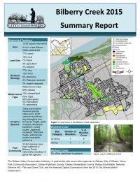 Bilberry Creek - 2015 Summary Report
